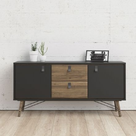 Ry Sideboard 2 doors + 2 drawers in Matt Black Walnut